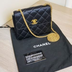 Chanel Classic Black Satin Quilted Flap Mini Bag